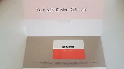 $25 MYER Gift Card Certificate