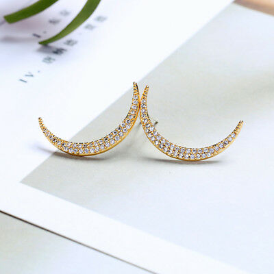 Gold Plated Brass 925 Silver Post Exquisite Zircon Moon Stud Earrings me0072