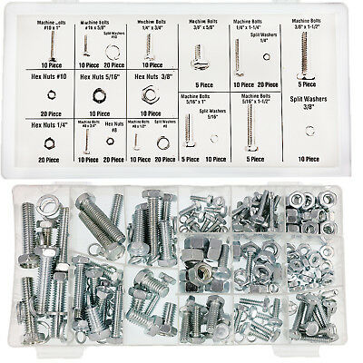 """240PCE Hex Head Nut and Bolt Kit Tools 1"""" 3/8"""" 1/4"""" 5/16"""" Washer Assortment Box"""