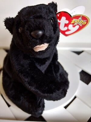 """TY Beanie Baby ~ CINDERS 5.5"""" Black Bear ~ with Tags Retired with PE Pellets"""