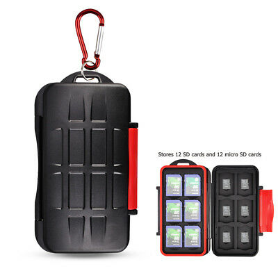 KIORA Water-Resistant 24 Slots SD MSD Memory Card Case Storage with Carabiner