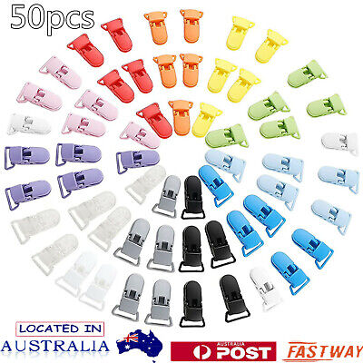 50 Random Colored Plastic Baby Pacifier Suspender Dummy Clip Badge Holder Craft