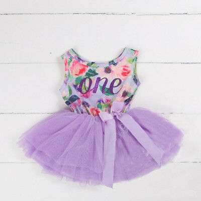 AU Baby Girls 1st First Birthday Dress Tutu Skirt Headband Party Romper Outfits