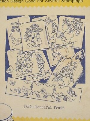VTG 60s AUNT MARTHAS 3749 Fanciful Fruit/Day of Week Embroidery TRANSFER PATTERN