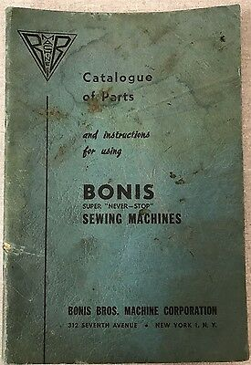 Bonis Sewing Machine Instruction Book Operating Instructions Manual PDF File