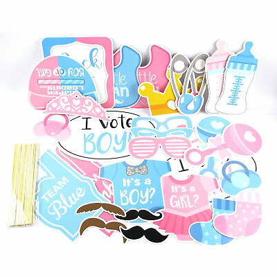 30pcs Baby Shower Gender Reveal Party Supplies Boy Or Girl Photo