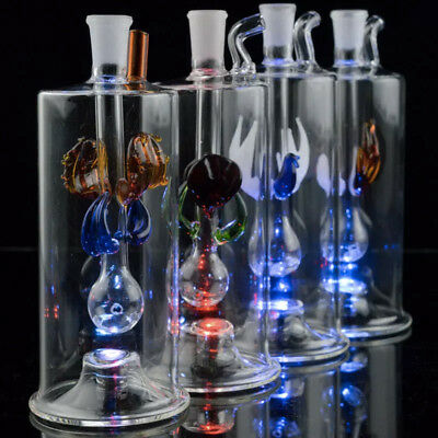 """NEW LED Multi-Colored Glass Pipe Mini Rig 5"""" 10mm Joint"""