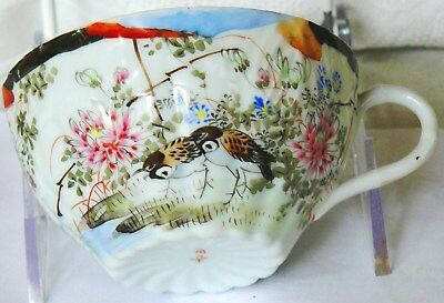 Antique Japanese Meiji Period Hand Painted KUTANI Eggshell Cup, Signed