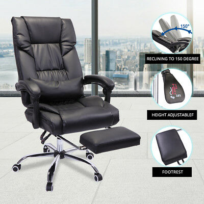 Executive Reclining Office Chair Ergonomic Leather Footrest Armchair High Back