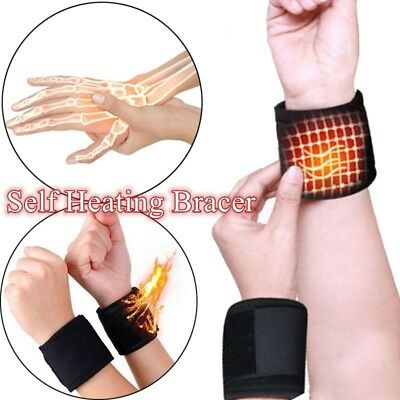 1 Pair Self Heating Magnetic Therapy Tourmaline Wrist Belt Brace Support Protect