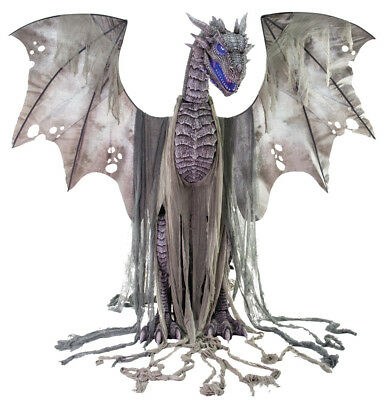 Halloween Life Size Animated Winter Dragon  Prop Decoration Haunted House 7 Ft