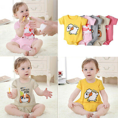 Cute Newborn Baby Boy Girl Cartoon Print Romper Jumpsuit Outfit Clothes