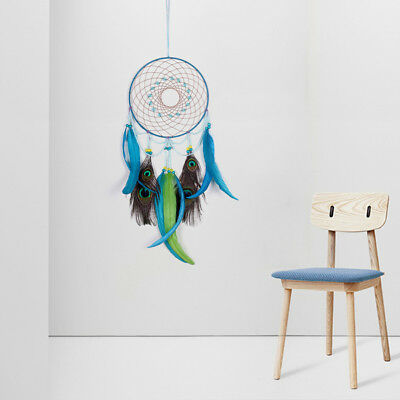 Dream Catcher With Feathers Home Car Wall Hanging Decoration Ornament Craft Blue
