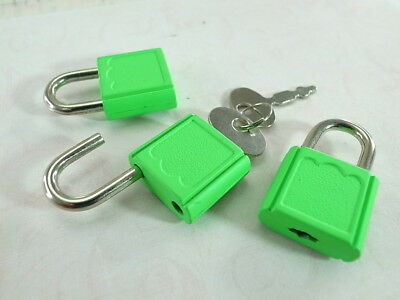 (Lot of 3) Mini Padlock NEON GREEN COLOR Small Tiny Box Lock with Keys