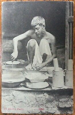 Antique Pc View Of Indian Electro Plater At Work. Electro Plating An Item 5556