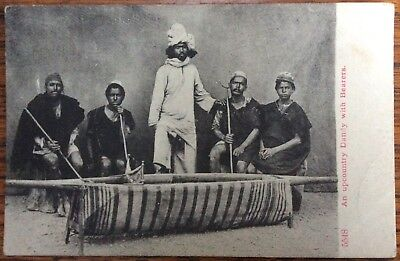Antique Pc Portait Of Indian Upcountry Dandy With Four Palanquin Carriers 1905