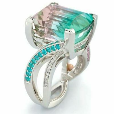 Antique Huge Multicolor Gemstone Silver Ring Engagement Women Jewelry Size 6-10