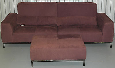 Leather Recliner 4 Seater Sofa & Footstool Very Nice Comfortable Velvet Finish