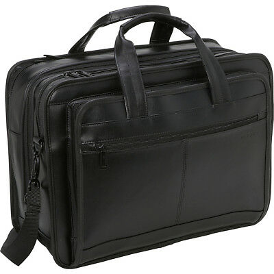 Samsonite Leather Expandable Briefcase - Black Non-Wheeled Business Case NEW