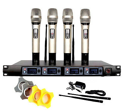 PRO 4 Channel UHF Diversity Handheld Wireless Microphone System 4 Mic for Stage