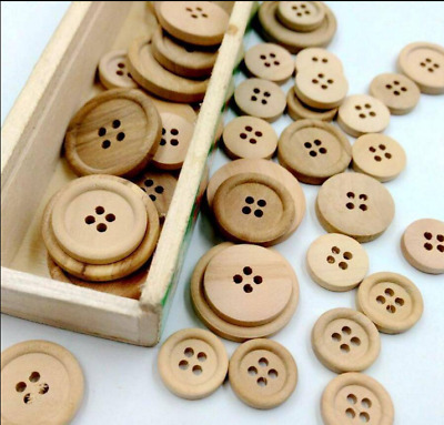 50 Pcs Wooden 4 Holes Round Wood Sewing Buttons DIY Craft Scrapbooking 15-20MM