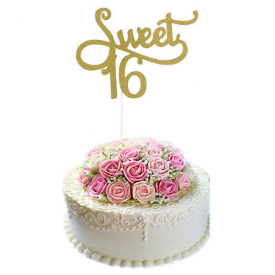 1PC SWEET 16 Gold Cake Topper 16th Birthday Party Themes Decoration GG