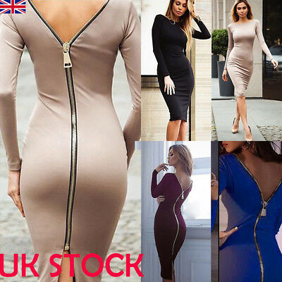 UK Women Long Sleeve Solid Bodycon Dress Evening Party Stretch Zip Up Sexy Dress