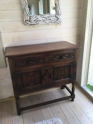 Solid oak Jacobean style sideboard. Deliberately distressed.