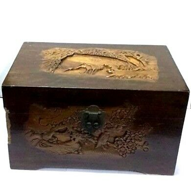 Vintage Old Chinese Sandal Aromatic Wood Hand Carved Jewelry Box