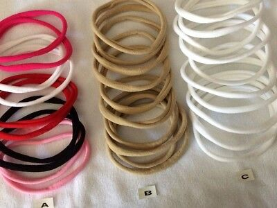 Skinny Nylon elastic Headbands x 10 see listing for variety of choices.