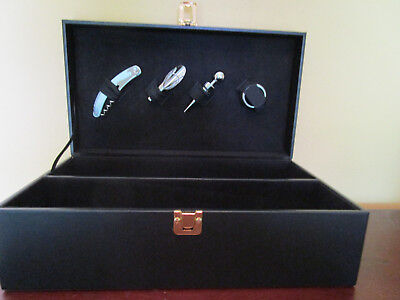 ?imitation Black Leather Wine Presentation Box With Accessories No Wine Included