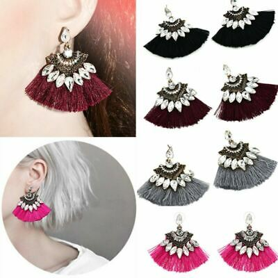 Retro Crystal Rhinestone Tassel Drop Dangle Ear Stud Earrings Fashion Jewelry