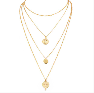 Gold Plated Fashion Women Elegant Round Coin Pendant Cross Choker Necklace Gift