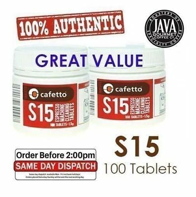2x GENUINE CAFETTO S15 100x ESPRESSO COFFEE MACHINE CLEANING TABLETS BACK FLUSH
