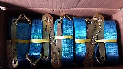 Pack of 10, 5 Tonne 50mm x 10 Metre Ratchet Straps with Claw Hooks (Blue)