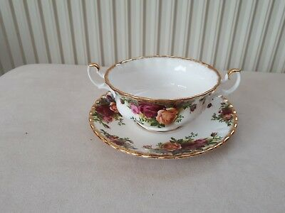 ROYAL ALBERT 1ST Quality Old Country Roses Soup Coupe Bowl & Saucer ...