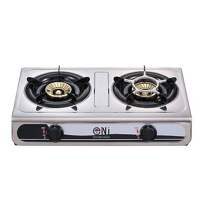 Portable Gas Stove 2 Double Burner Outdoor Cooker Cooktop Hob 7.6kW NJ NGB-60 UK