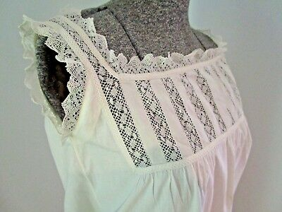 Edwardian Torchon Lace, Embroidered Ribbon Night Dress, Nightgown