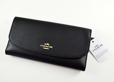 Nwt Coach F16613 Checkbook Long Wallet Polished Pebble Leather Black $250