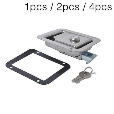 Stainless Steel Paddle Latch 119MMx92MM & Keys for Toolbox Lock Caravan Truck