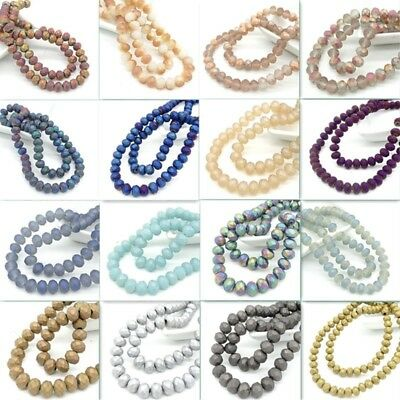 Scrub Rondelle Faceted Crystal Glass Loose Beads Jewelry Making 10mm8mm6mm4mm