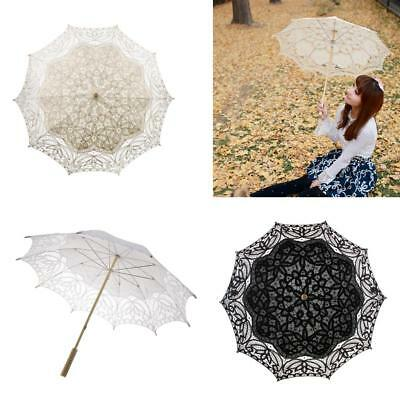 96cm Lace Embroidered Sun Shade Parasol Wedding Bride Bridesmaid Umbrella Prop