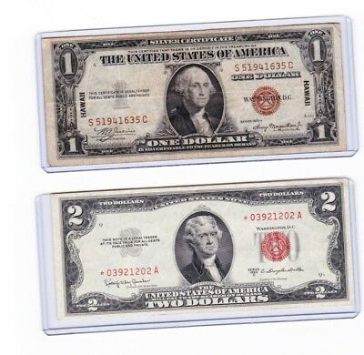 1935A $1 Hawaii Silver Certificate & 1953C $2 Red Seal Star **Note lot of 1 each