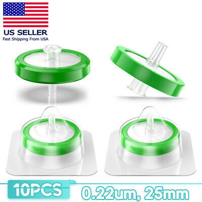 10 Pcs Sterile Pes Syringe Filter 25Mm 0.22Um Individually Hydrophilic Lab Green