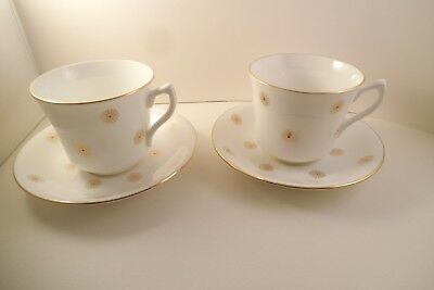 Vintage English Castle Bone China Staffordshire Pair of Cups & Saucers Gold Sun