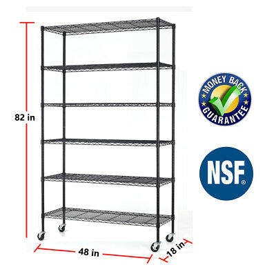 "48""x18""x82"" Heavy Duty 6 Tier Shelving Rack Steel Wire Metal Shelf Adjustable"