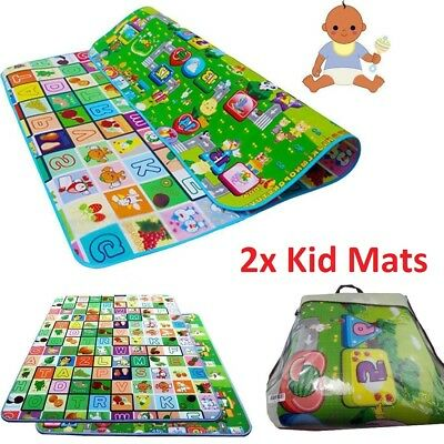 2xBaby Play Mat 200 x 180cm 2 Side Kids Crawling Education Game Soft Foam Carpet