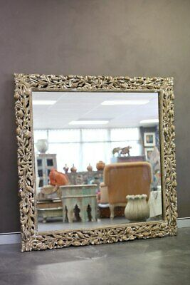 NEW Antique gold, carved square mirror, large
