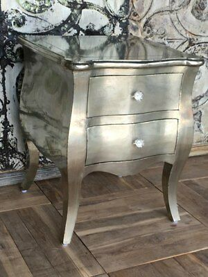 NEW White metal french style bedside- Large