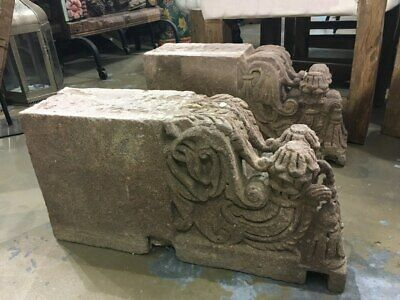 NEW Carved stone blocks coffeetable - Pair